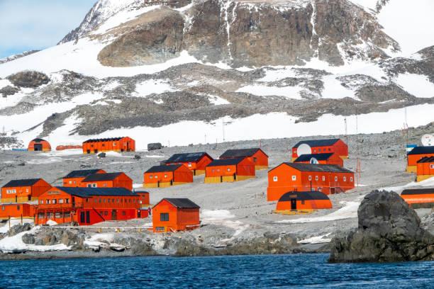 Scenic view of the Antarctic peninsula (Science station Esperanza) stock photo
