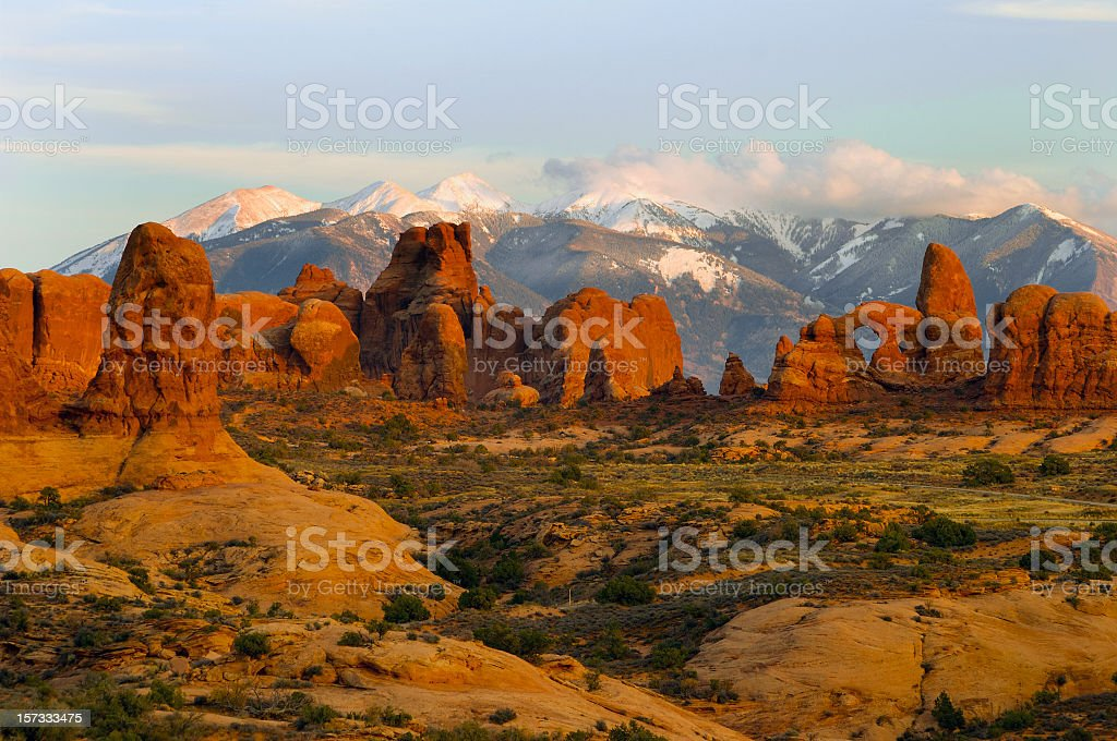 A scenic view of the Arches National Park stock photo