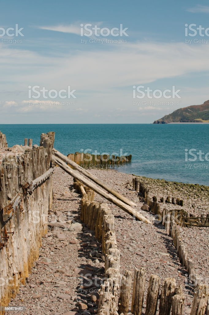 A scenic view of the Bristol Channel showing the coastal defenses. stock photo