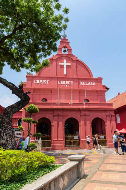Scenic view of the Christ Church Malacca and Dutch Square. stock photo