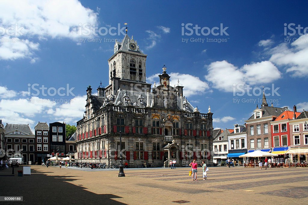Scenic view of the Delft town hall stock photo