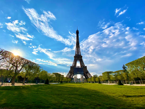 Scenic view of the Eiffel tower with bright blue sky in Paris, France stock photo