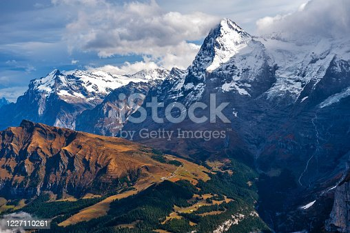 Scenic view of the Eiger and the Monch, the summits of the Bernese Alps in Switzerland, seen from Lauterbrunnen