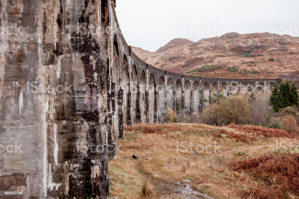 Scenic view of the glenfinnan viaduct in the mountains stock photo