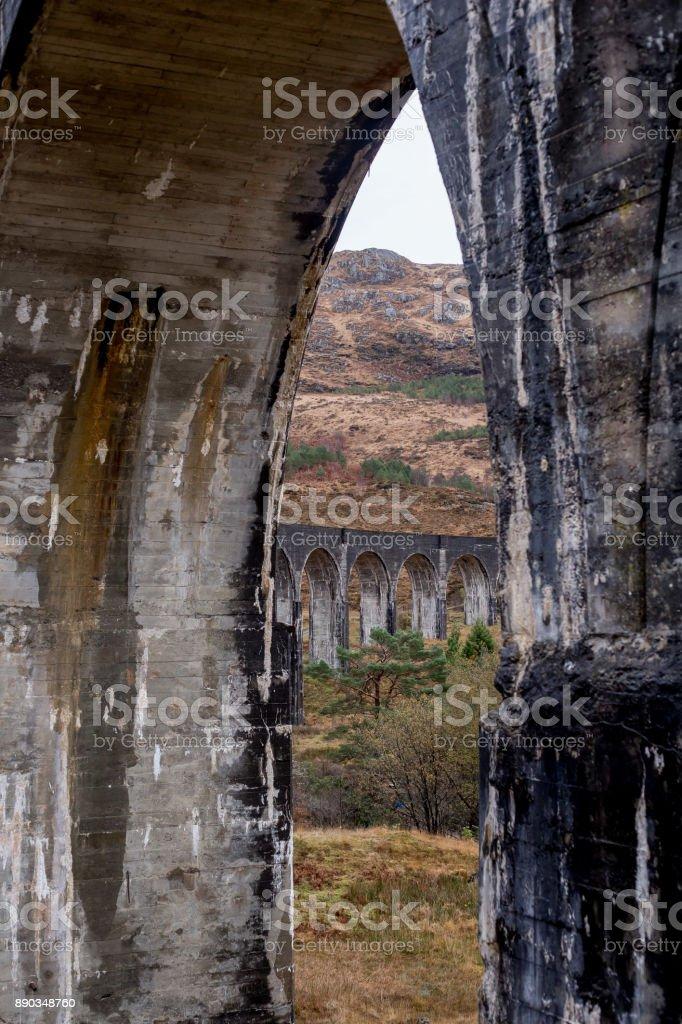 Schilderachtig uitzicht op het glenfinnan viaduct in de bergen foto