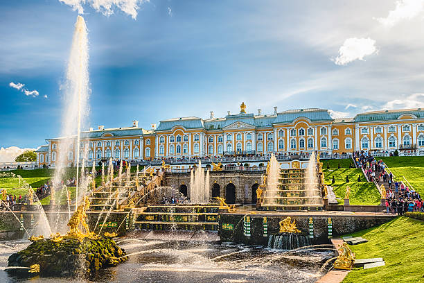 Scenic view of the Grand Cascade,  Peterhof Palace, Russia - foto stock