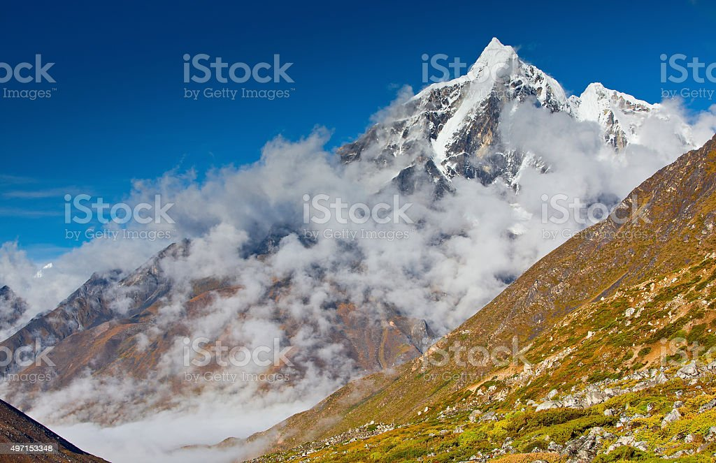 Scenic view of the Himalaya mountains stock photo