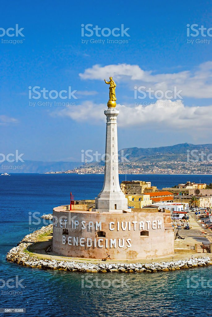 Scenic view of the Italian port of Messina stock photo