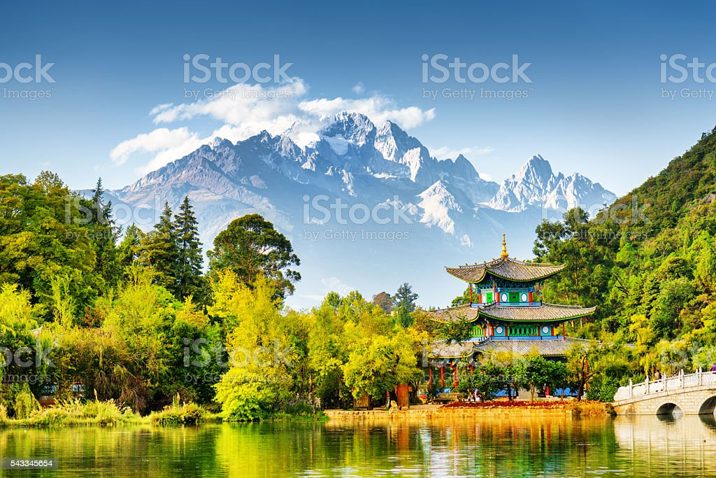 Scenic view of the Jade Dragon Snow Mountain, China stock photo