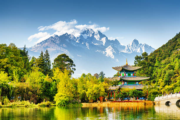 Scenic view of the Jade Dragon Snow Mountain, China - Photo