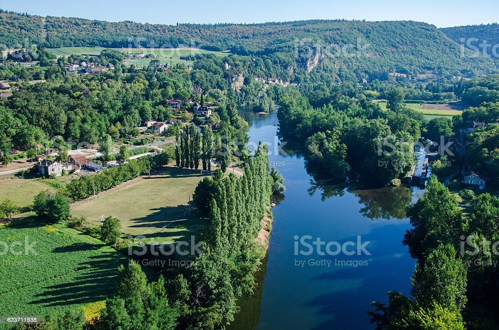 Scenic view of the Lot river valley in France stock photo