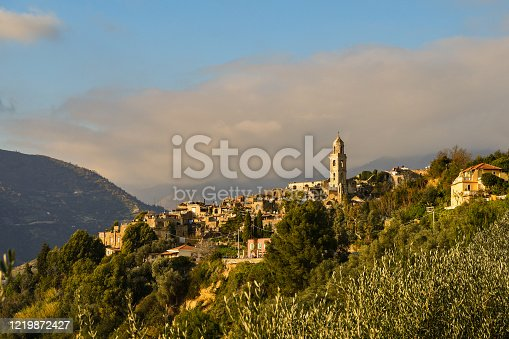 Panoramic view of the medieval village of Bussana Vecchia in the Riviera of Flowers in a sunny day, Imperia, Liguria, Italy