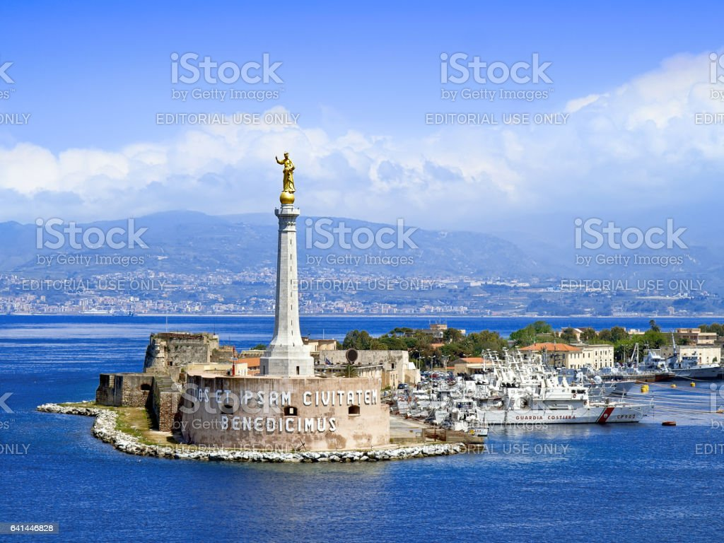 Scenic view of the Messina's port entrance stock photo