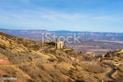 Scenic view of Jerome located in the Black Hills of Yavapai County. It was a mining town and became a National Historic Landmark.