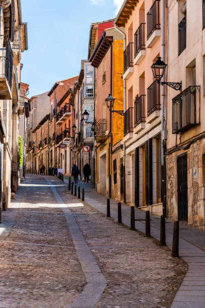 Scenic view of the old medieval town of Lerma stock photo
