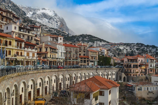 scenic view of the picturesque and famous village of Arachova located on the hills of Parnassus mountain in short distance from ski resorts.Very popular destination for lovers of outdoor activities. stock photo