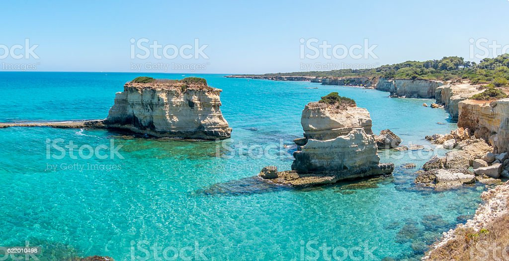 Scenic view of the rocky cliffs Torre Sant Andrea, Salento stock photo