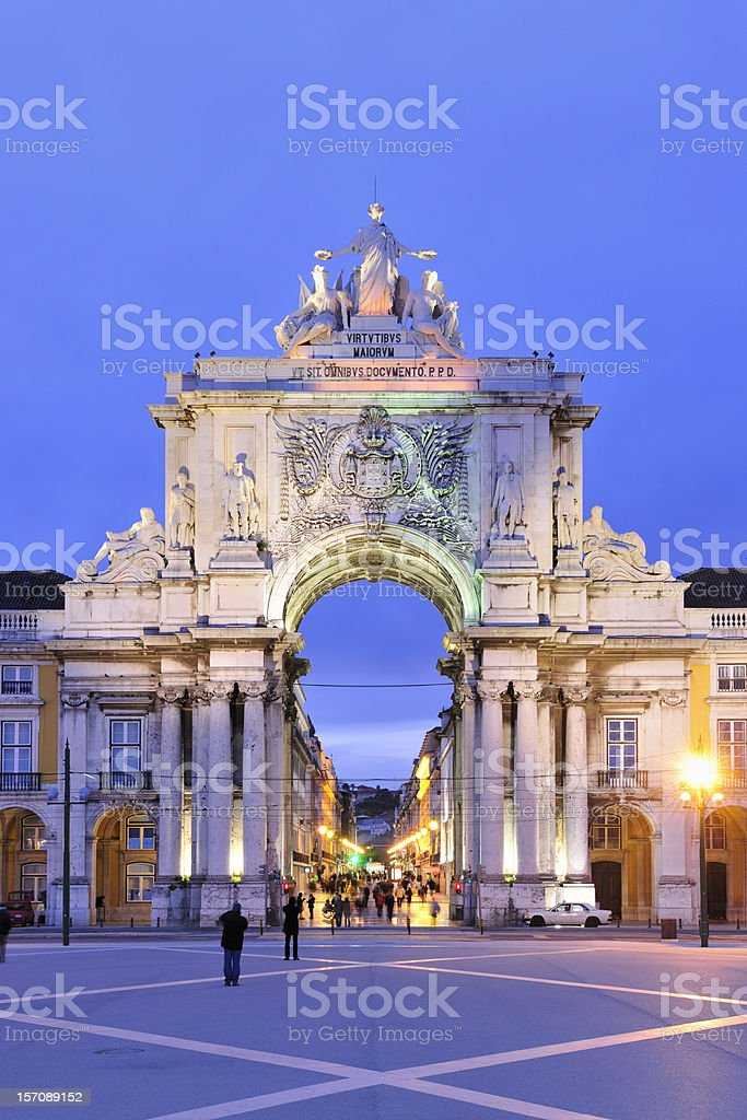 A scenic view of the Rua Augusta Arch stock photo