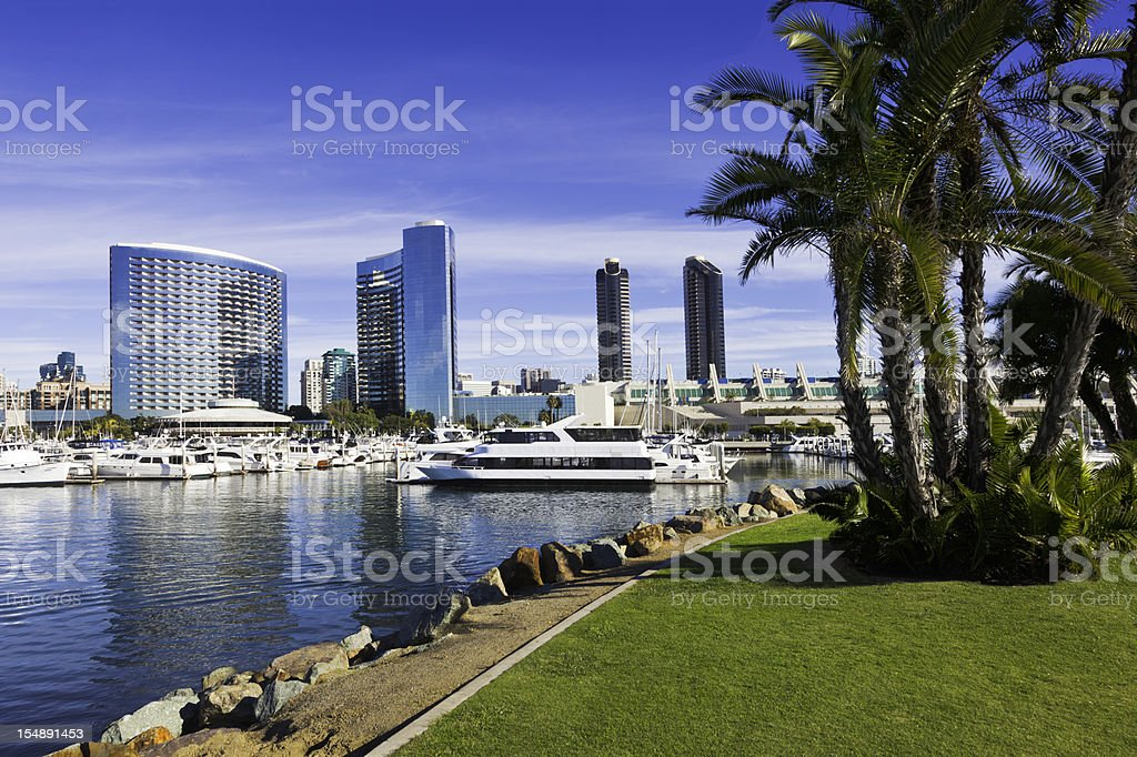 A scenic view of the San Diego skyline in California stock photo