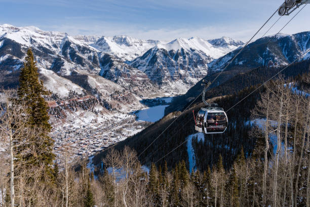 Scenic view of the San Juan Mountains with gondola in Telluride, Colorado stock photo