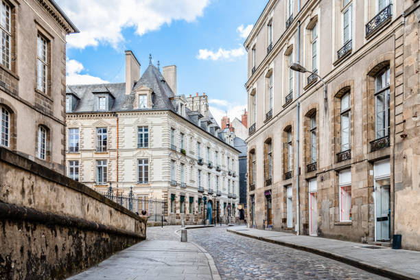 Scenic view of the town of Rennes in France stock photo