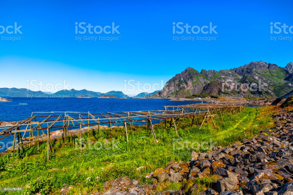 Scenic view of the waterfront harbor in Henningsvaer stock photo
