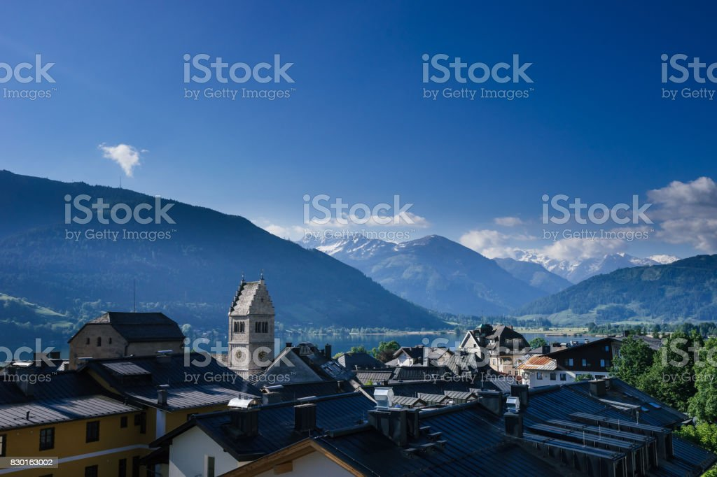 Scenic view of the zeller lake and alps mountain stock photo