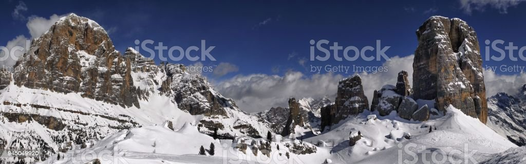 Scenic view of Tofana di Rozes and Cinque Torri in the Italian Dolomites. Cortina d'Ampezzo, Italy. stock photo