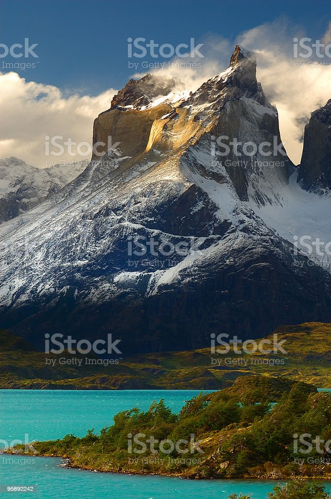 A scenic view of Torres del Paine, Chili with mountains stock photo
