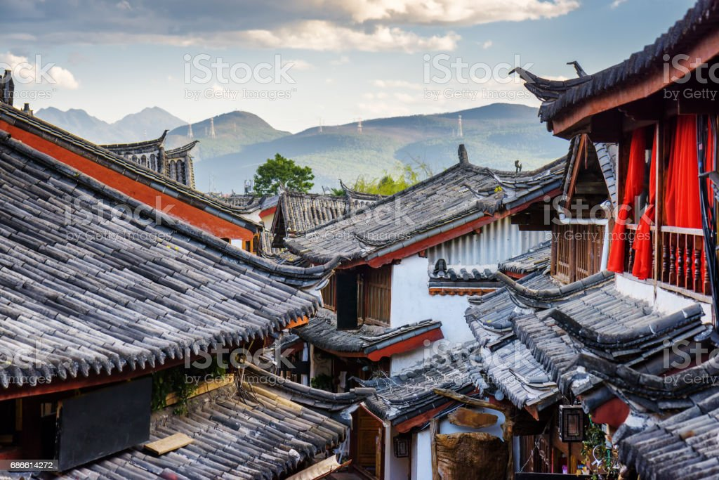 Scenic view of traditional Chinese tile roofs of houses, Lijiang royalty-free stock photo