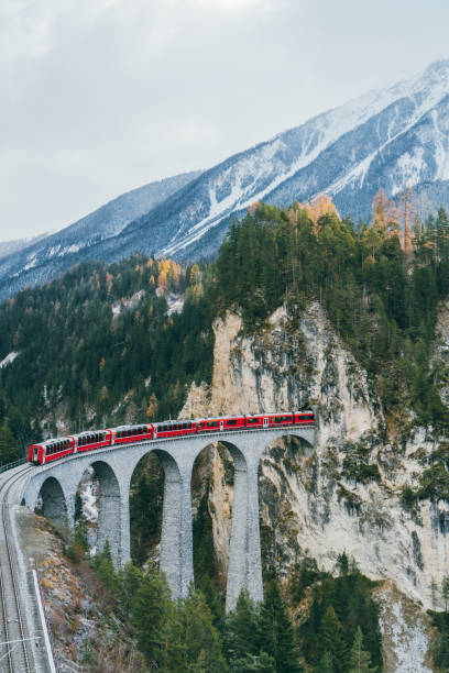 Scenic  view of train on  Landwasser viaduct in Switzerland stock photo