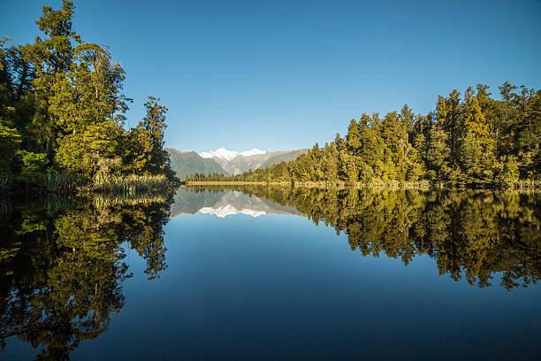 Scenic View Of Trees And Mountains Reflection In Lake Matheson - Photo