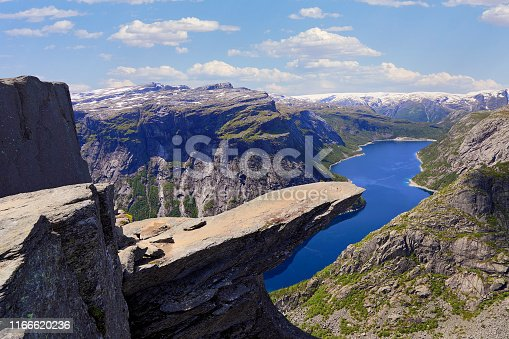 Scenic view of Trolltunga (the famous Troll's tongue Norwegian destination) and Ringedalsvatnet Lake in Odda
