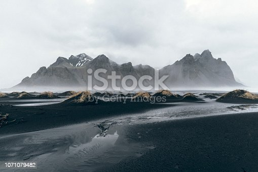 Scenic view of Vestrahorn mountains near the sea in Iceland