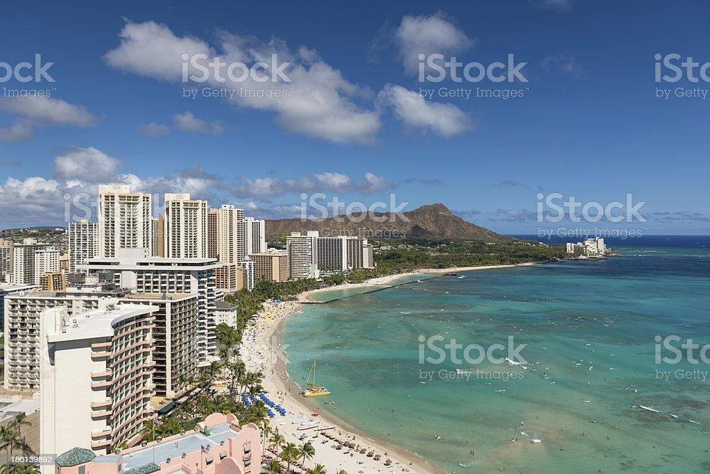 Scenic view of Waikiki Beach in summer stock photo