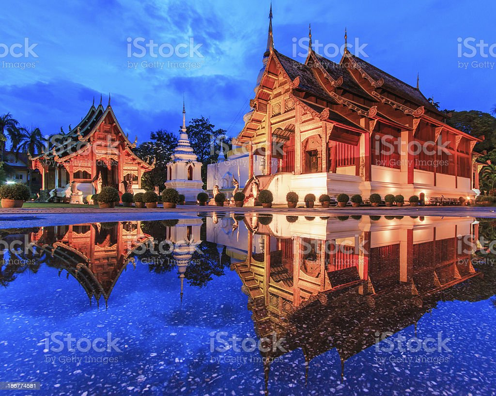 A scenic view of Wat Phra Sing royalty-free stock photo