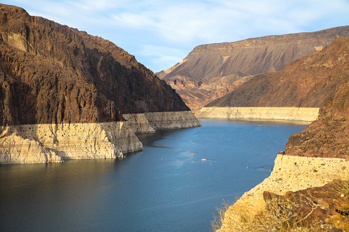 canyon at Lake Mead in Arizona seen from the Hoover Dam with a receding water level