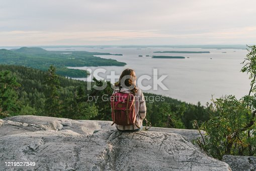 istock Scenic  view of woman looking at  lake in Finland 1219527349