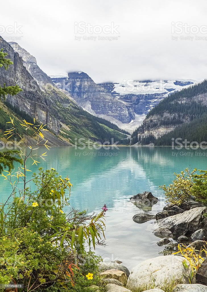 Scenic view on Lake Louise royalty-free stock photo