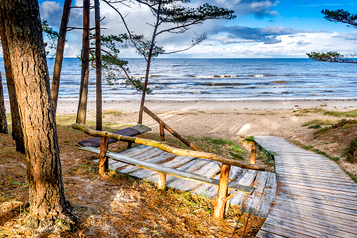 Scenic view on resting area at sandy beach of the Baltic Sea, Jurmala