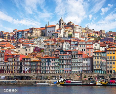 Scenic view on the historical part of Porto and the Douro river in  sunny spring morning, Portugal.