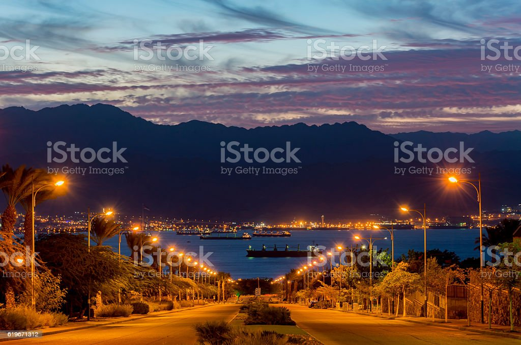 Scenic view on the Red Sea from Eilat, Israel stock photo