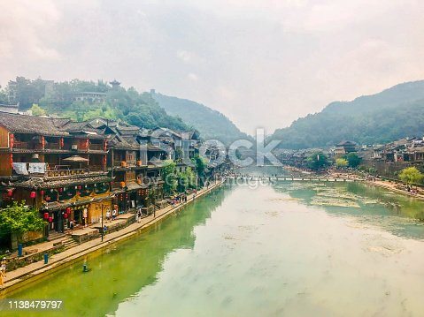 A photo of a Scenic view on the street in an old Chinese town, Fenghuang, China