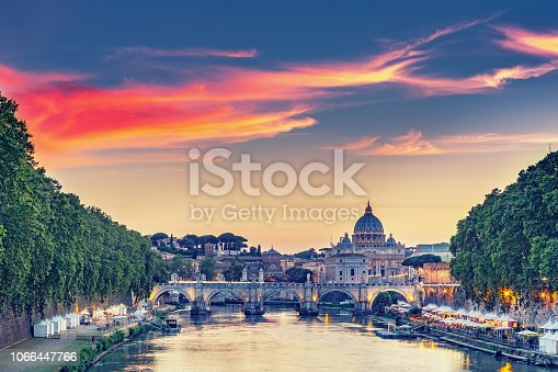 istock Scenic view on the Vatican in Rome, Italy, at sunset 1066447766