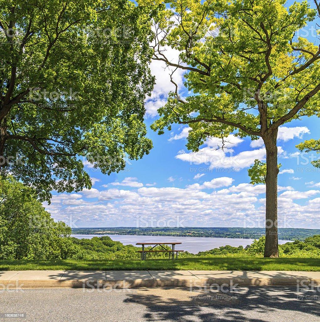 Scenic view over the Illinois River stock photo