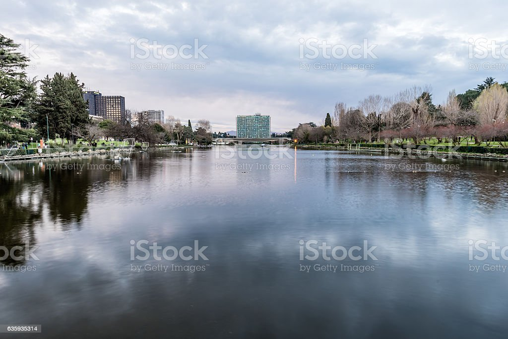 Scenic view over the lake of EUR in Rome, Italy stock photo