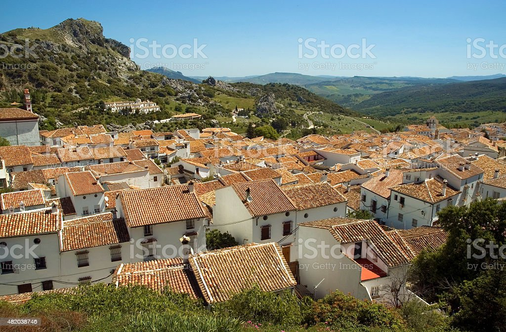Scenic view over white town Grazalema, pueblos blancos, Andalusia, Spain stock photo