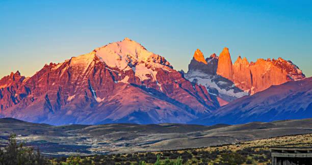 scenic view to Fitz Roy mountain in Argentina, Patagonia stock photo