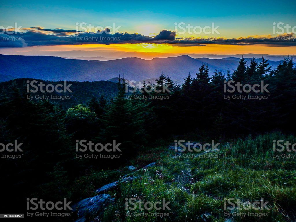 scenic views at sunset on top of mount mitchell stock photo