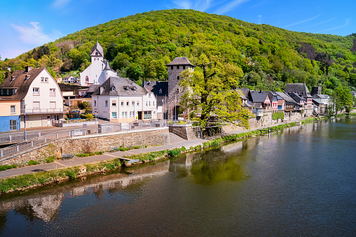 Scenic village Dausenau on the river Lahn, Rhineland-Palatinate, Germany